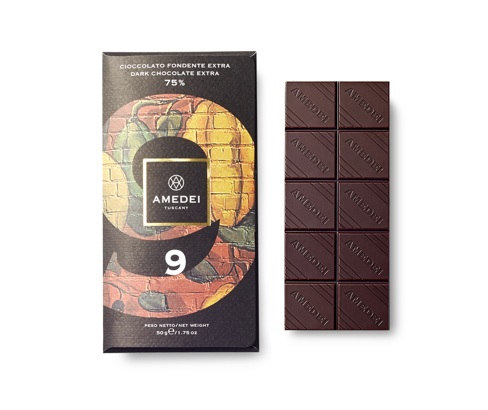 Amedei 9 75% Dark Chocolate Bar Open