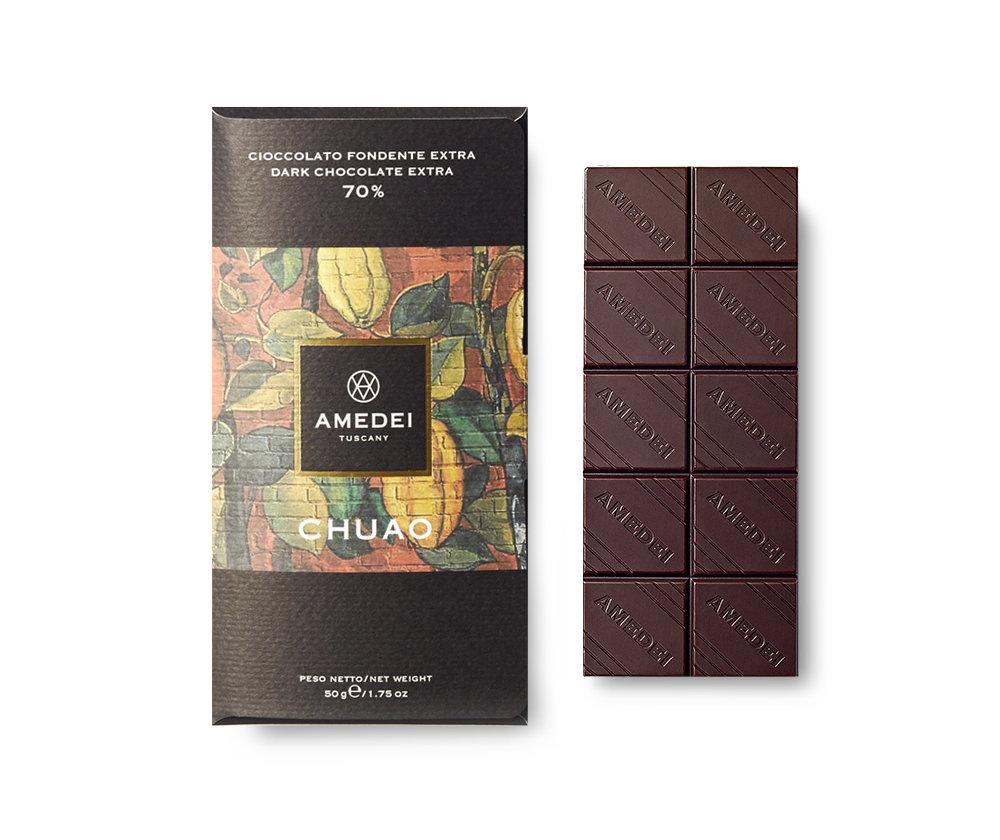 Amedei Chuao 70% Dark Chocolate Bar Open
