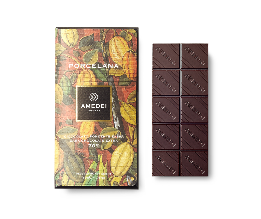 Amedei Porcelana 70% Dark Chocolate Bar Open