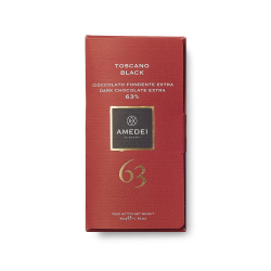 Amedei Toscano Black 63% Dark Chocolate Bar Open