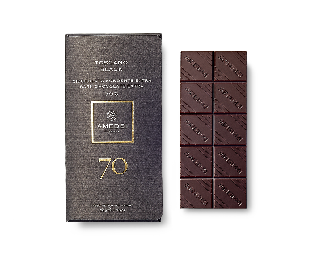 Amedei Toscano Black 70% Dark Chocolate Bar Open