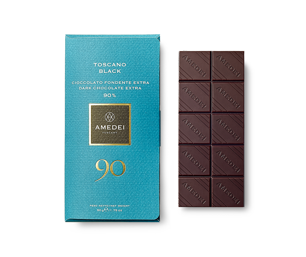 Amedei Toscano Black 90% Dark Chocolate Bar Open