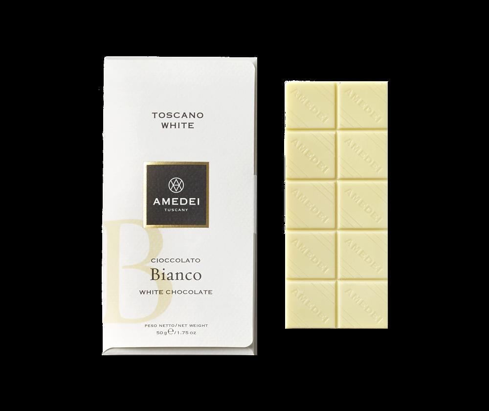 Amedei Toscano White 29% White Chocolate Bar Open