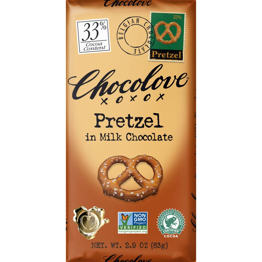 Chocolove 33% Pretzel Milk Chocolate Bar