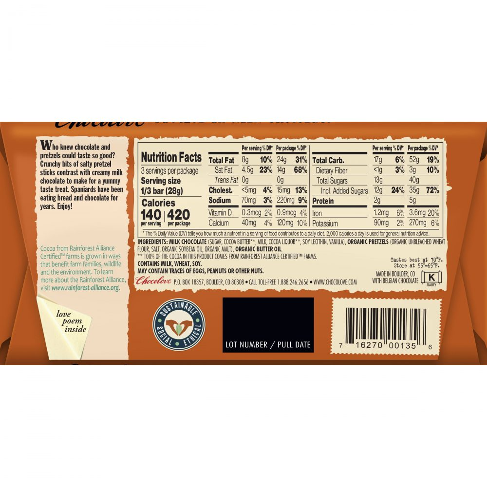 Chocolove 33% Pretzel Milk Chocolate Bar Back