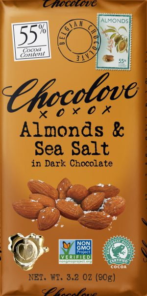 Chocolove Almonds & Sea Salt in 55% Dark Chocolate Bar