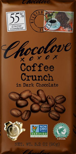 Chocolove Coffee Crunch in 55% Dark Chocolate Bar