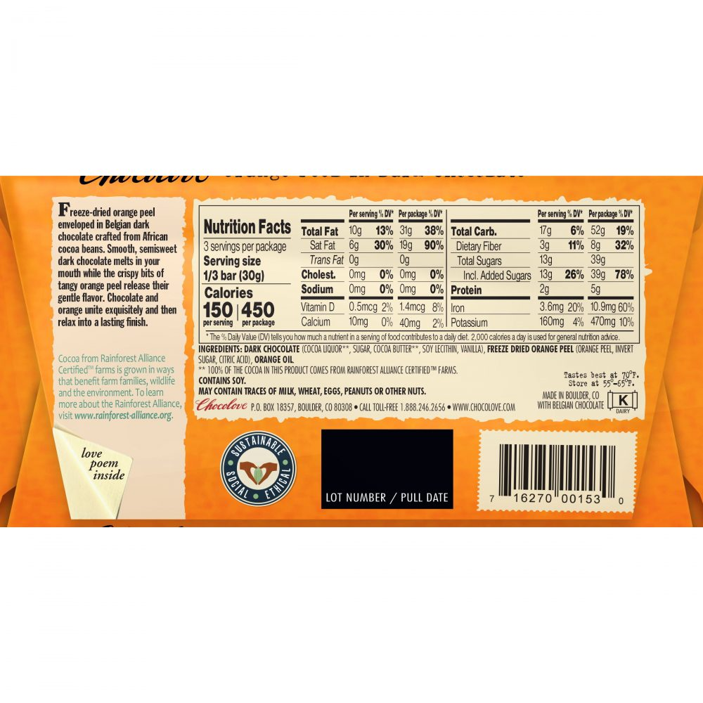 Chocolove 55% Orange Peel Dark Chocolate Bar Back