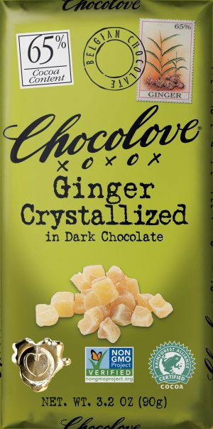 Chocolove Crystallized Ginger in 65% Dark Chocolate Bar