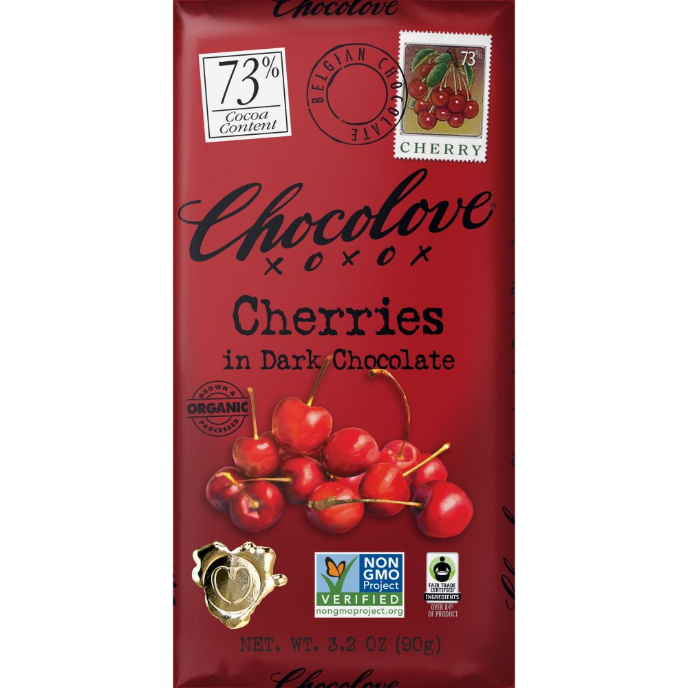Chocolove 73% Organic Cherries Dark Chocolate Bar