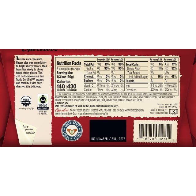 Chocolove 73% Organic Cherries Dark Chocolate Bar Back
