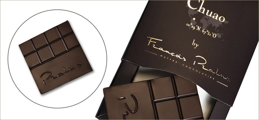François Pralus Chuao 75% Dark Chocolate Bar Open
