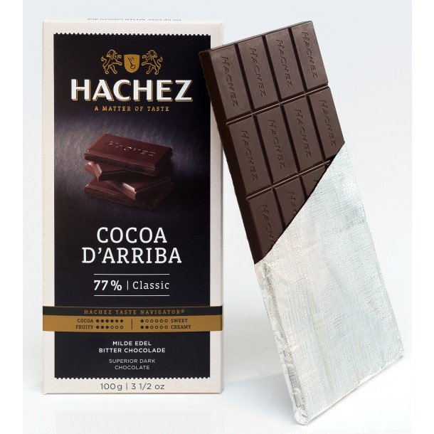 Hachez Cocoa d'Arriba 77% Dark Chocolate Bar open