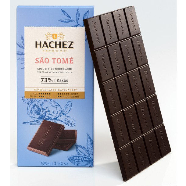 Hachez São Tomé 73% Dark Chocolate Bar open