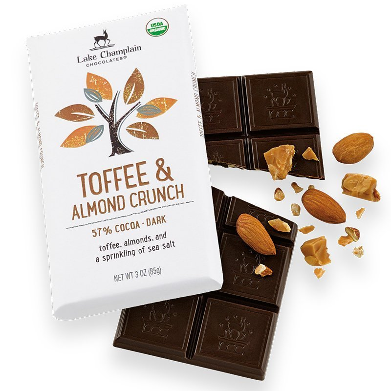 Lake Champlain 57% Toffee & Almond Crunch Dark Chocolate Bar