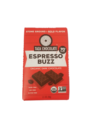 Taza Espresso Buzz 70% Dark Chocolate Bar