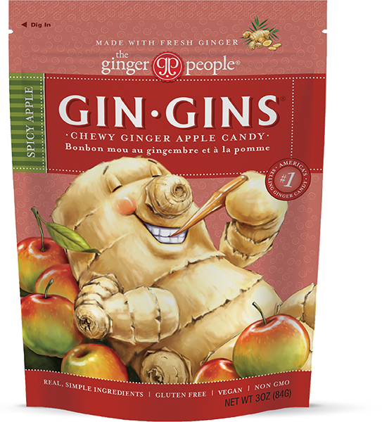 The Ginger People Gin Gins Spicy Apple Chewy Ginger Candy