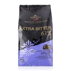 Valrhona Extra Bitter 61% Dark Chocolate Baking Feves Bag