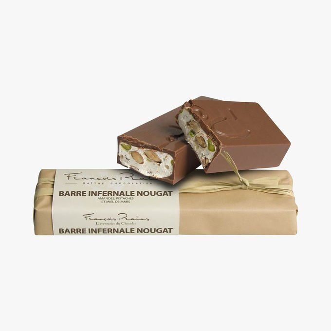 François Pralus Barre Infernale Nougat 75% Dark Chocolate Bar