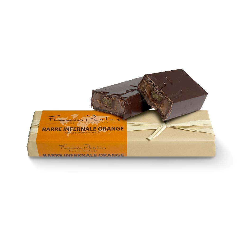 François Pralus Barre Infernale Orange 75% Dark Chocolate Bar
