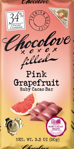 Chocolove Pink Grapefruit in 34% Ruby Cacao Bar