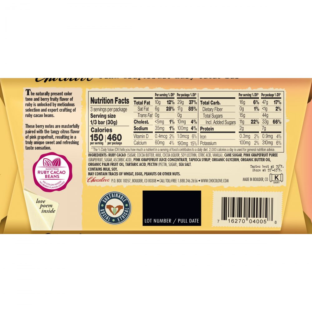 Chocolove Pink Grapefruit in 34% Ruby Cacao Bar Back