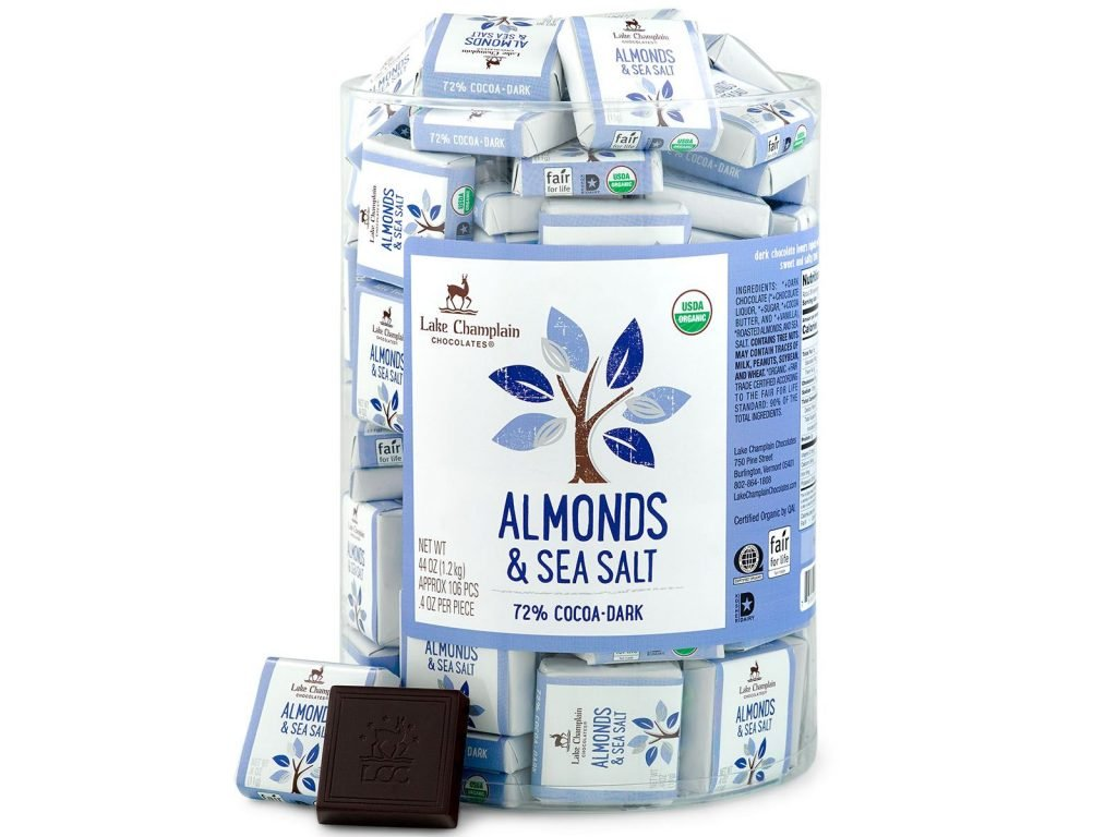 Lake Champlain Almonds & Sea Salt 72% Dark Chocolate Squares