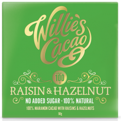 Willie's Cacao Raisin & Hazelnut 100% Cacao Bar