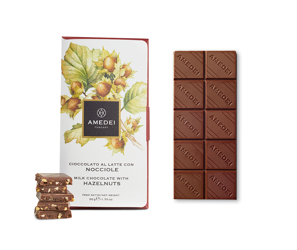 Amedei Nocciole Milk Chocolate with Hazelnuts Open