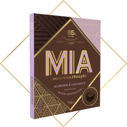MIA Almond & Coconut 65% Dark Chocolate Bar
