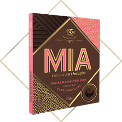 MIA Baobab & Salted Nibs 65% Dark Chocolate Bar