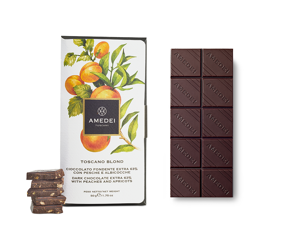Amedei Toscano Blond 63% Dark Chocolate Bar with Peaches & Apricots Open