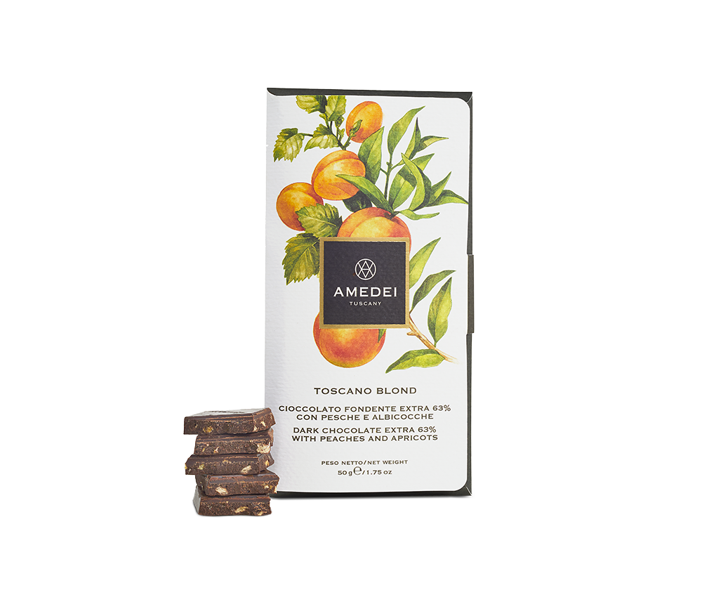 Amedei Toscano Blond 63% Dark Chocolate Bar with Peaches & Apricots