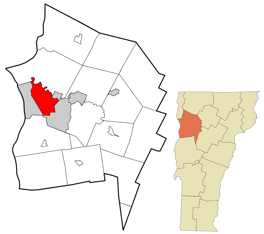 Chittenden County VT Burlington Highlighted