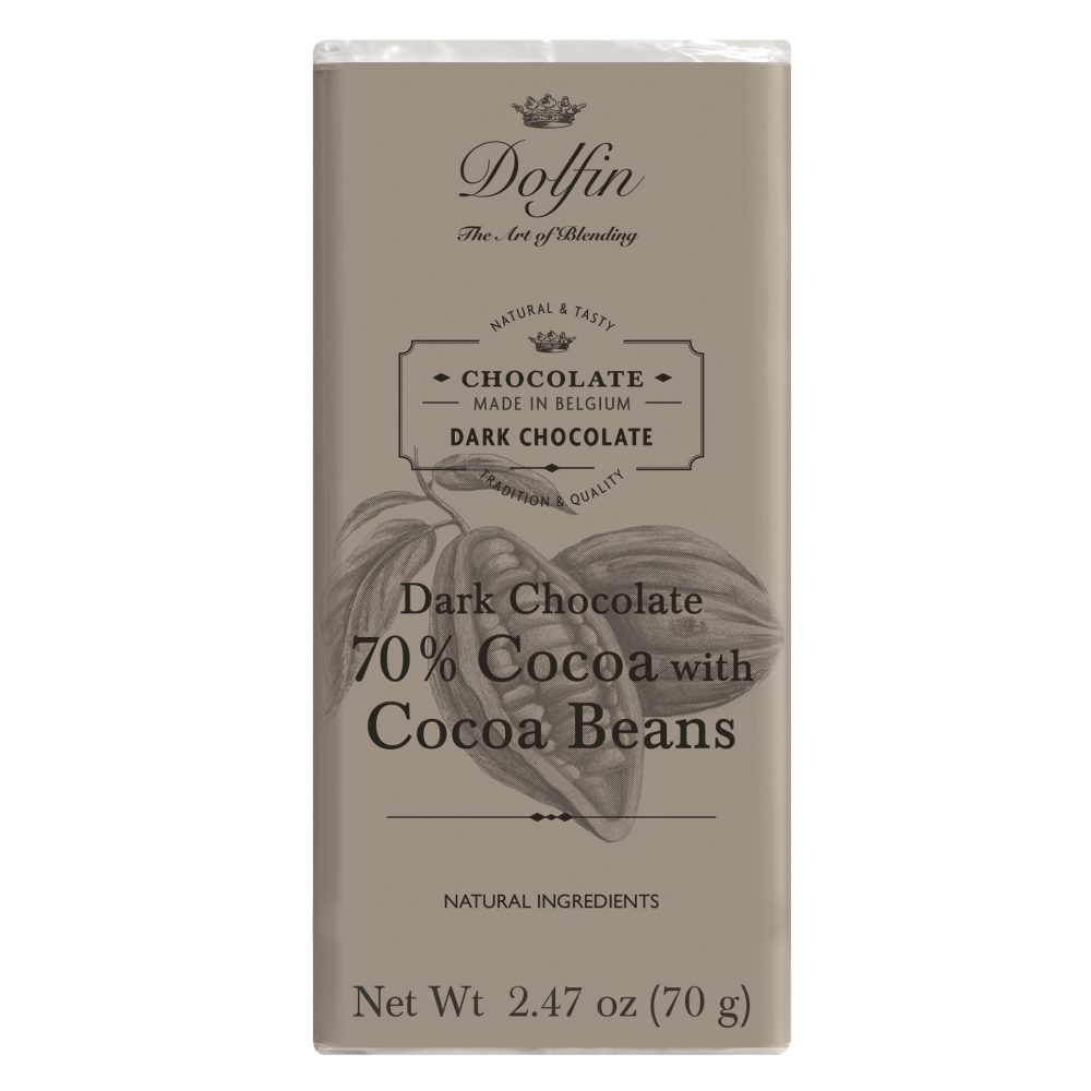 Dolfin 70% Dark Chocolate Bar With Cocoa Beans