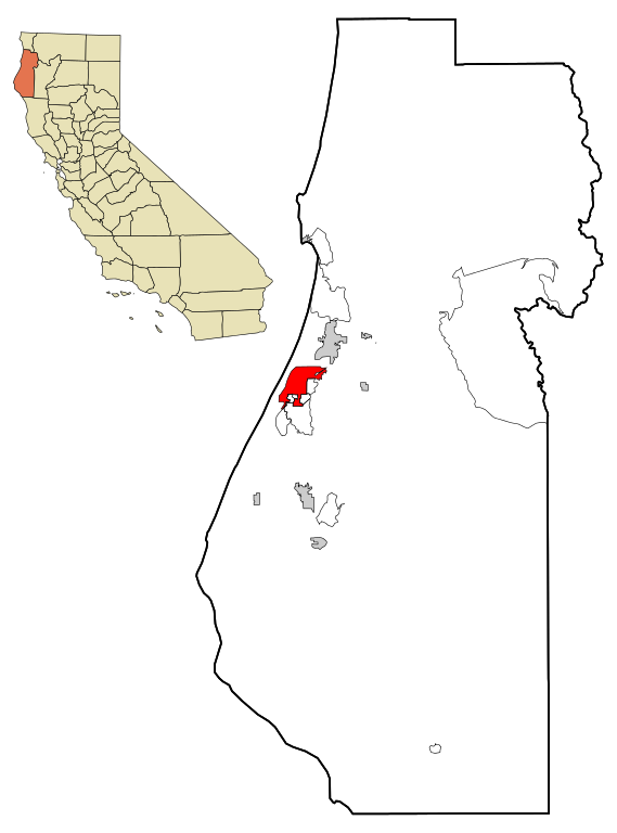 Humboldt county highlighted with Eureka CA