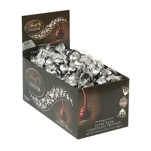 Lindt LINDOR 60% Extra Dark Chocolate Truffle Box - 120-Count