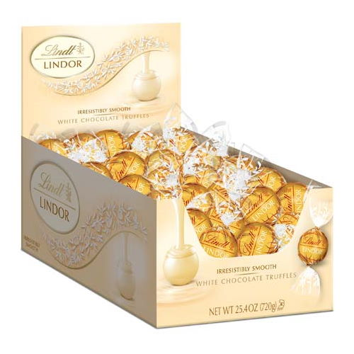 Lindt LINDOR White Chocolate Truffle Box - 60-Count