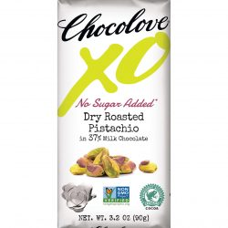 Chocolove XO No Sugar Added 37% Milk Chocolate Bar with Dry Roasted Pistachio