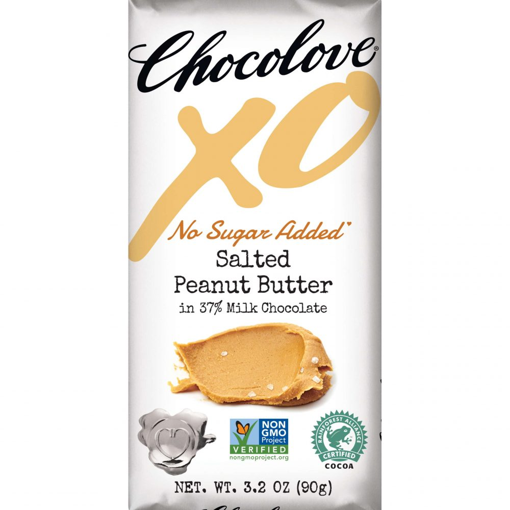 Chocolove XO No Sugar Added 37% Milk Chocolate Bar with Salted Peanut Butter Filling