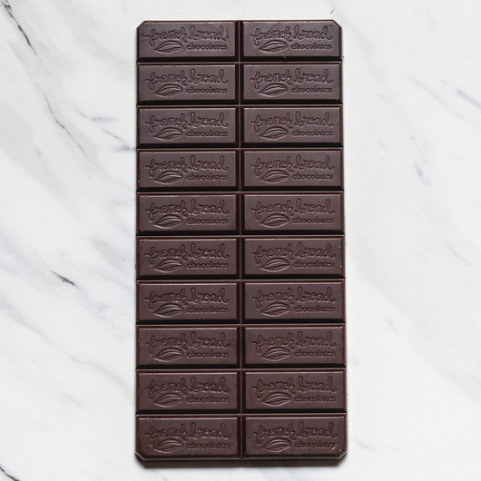 French Broad 100% Cacao Dark Chocolate Bar Open