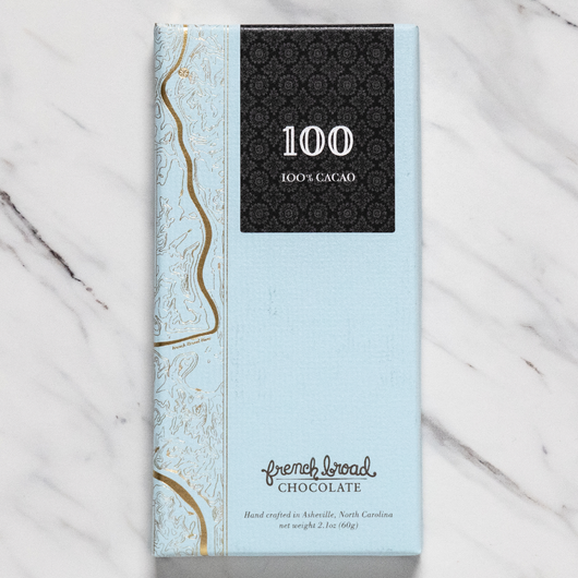 French Broad 100% Cacao Dark Chocolate Bar