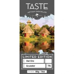 Taste Artisan Chocolate Limited Release Del Oro Ecuador 75% Dark Chocolate Bar