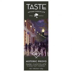 Taste Artisan Chocolate EUV Historic Provo Mini Dark Chocolate Bar with Dried Tart Cherries