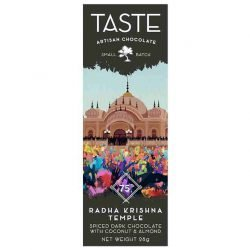 Taste Artisan Chocolate EUV Radha Krishna Temple Mini Dark Chocolate Bar with Coconut & Almonds