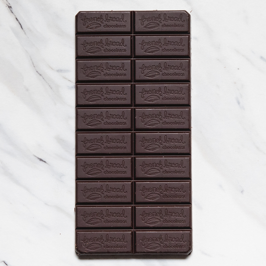 French Broad 72% Dark Chocolate Bar with Scorpion Pepper Open