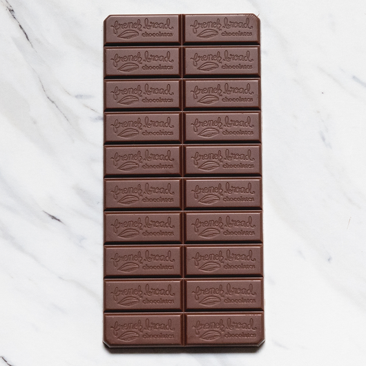 French Broad Malted 44% Milk Chocolate Bar Open