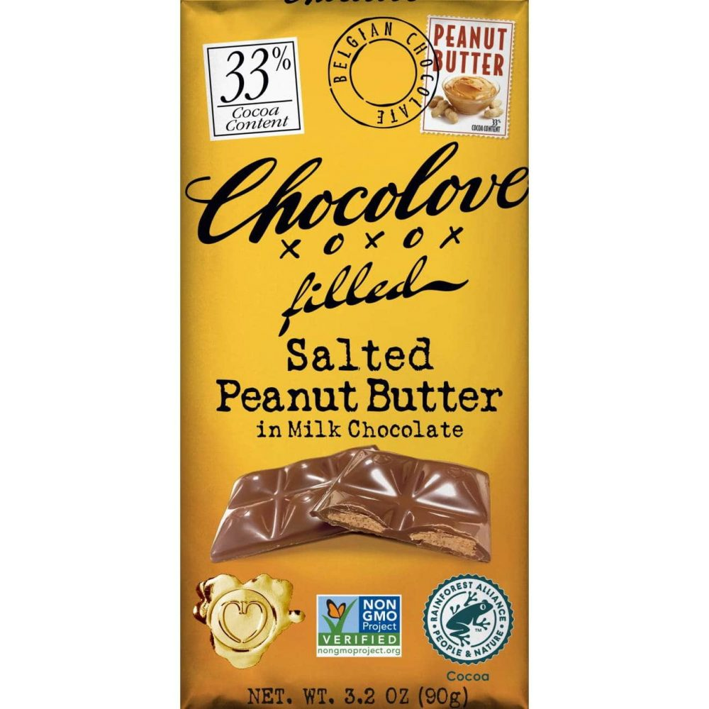 Chocolove 33% Milk Chocolate Bar with Salted Peanut Butter Filling-min