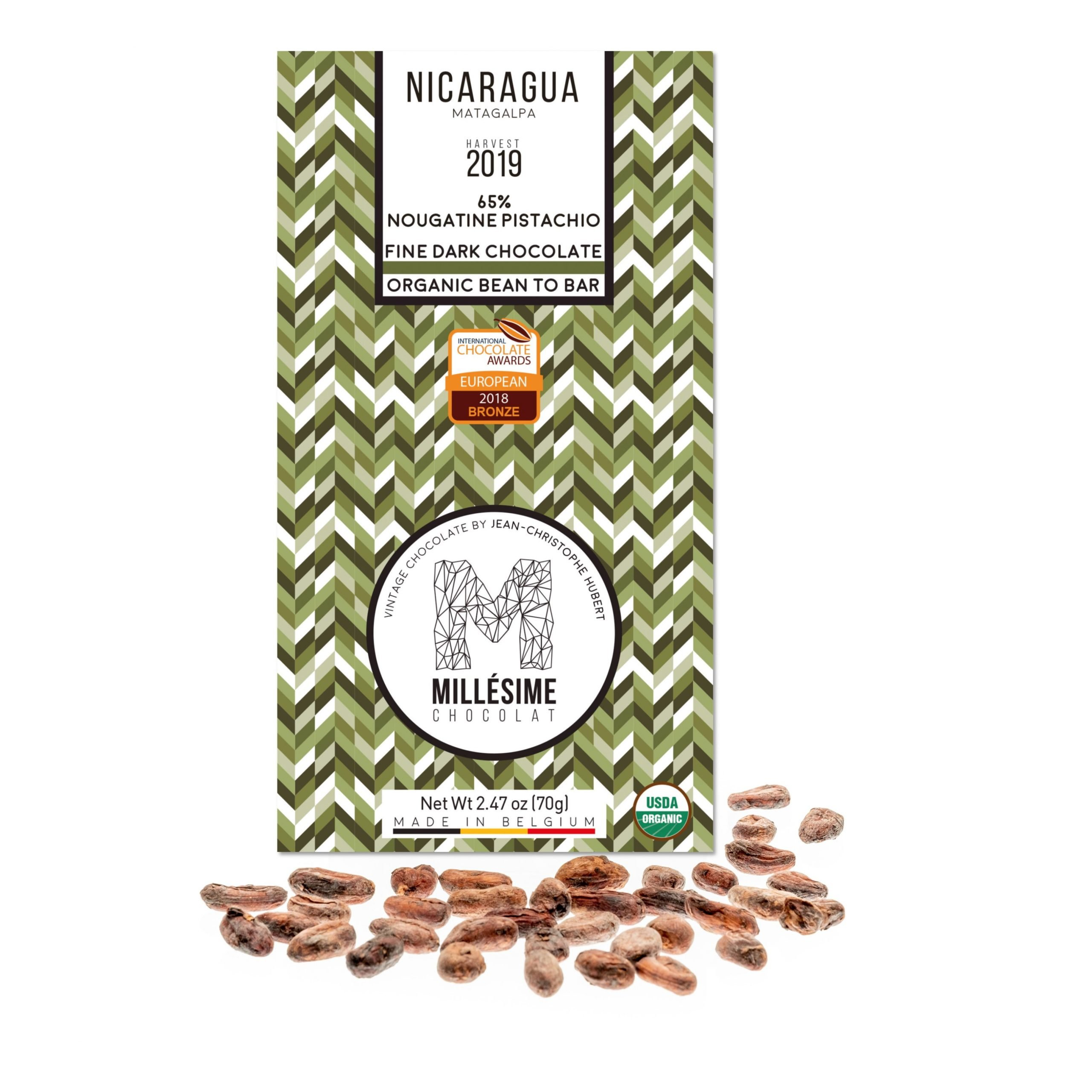 Millésime Nicaragua 65% Dark Chocolate Bar with Pistachio Nougatine Filling
