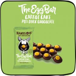 Hands Off My Chocolate Egg Bar 70% Dark Chocolate Bar with Carrot Cake